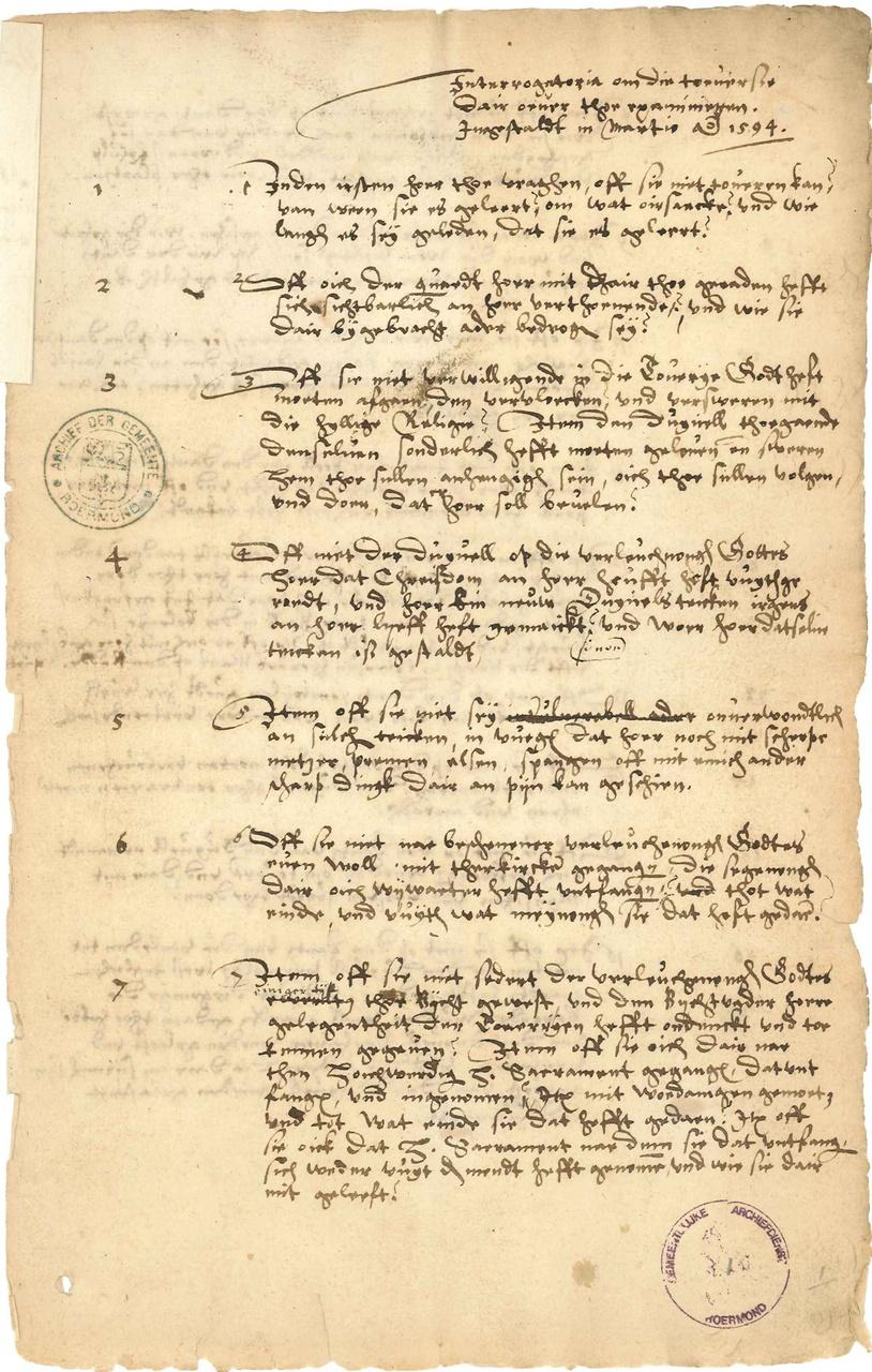 Vragenlijst gebruikt voor verhoren bij heksenprocessen