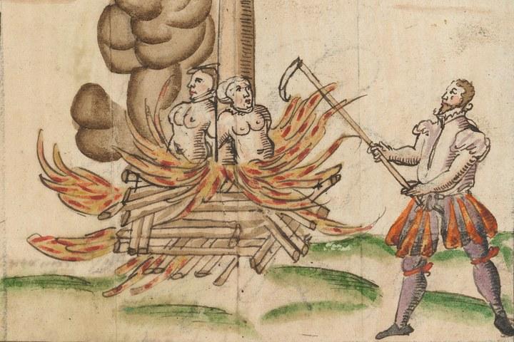 Tientallen heksen op de brandstapel